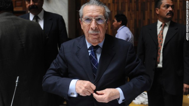 Former Guatemalan dictator Efrain Rios Montt arrives at court in Guatemala City on March 25.