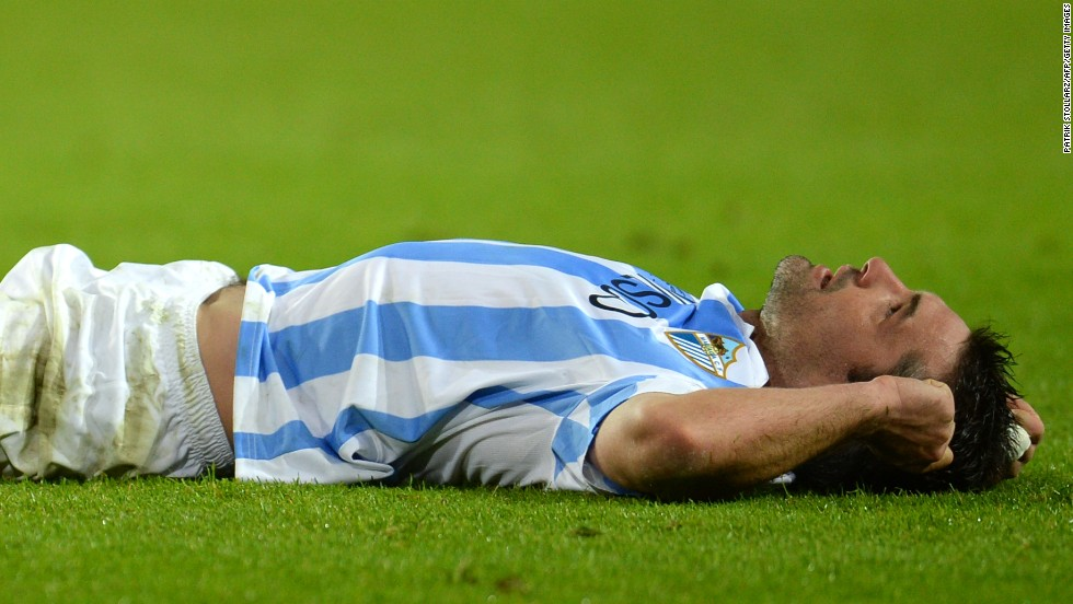Malaga midfielder Jeremy Toulalan was left floored after his side's painful late defeat. The Spanish club, which was making its debut in the competition, was just minutes away from the semifinals.