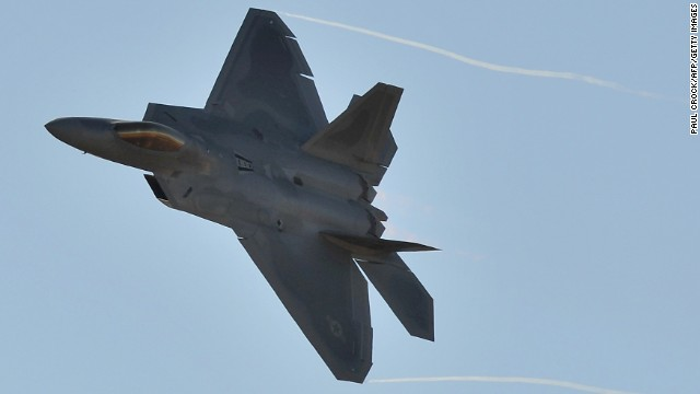 A U.S. Air Force F-22 Raptor roars through the sky during the Australian International Airshow in Melbourne on March 1.