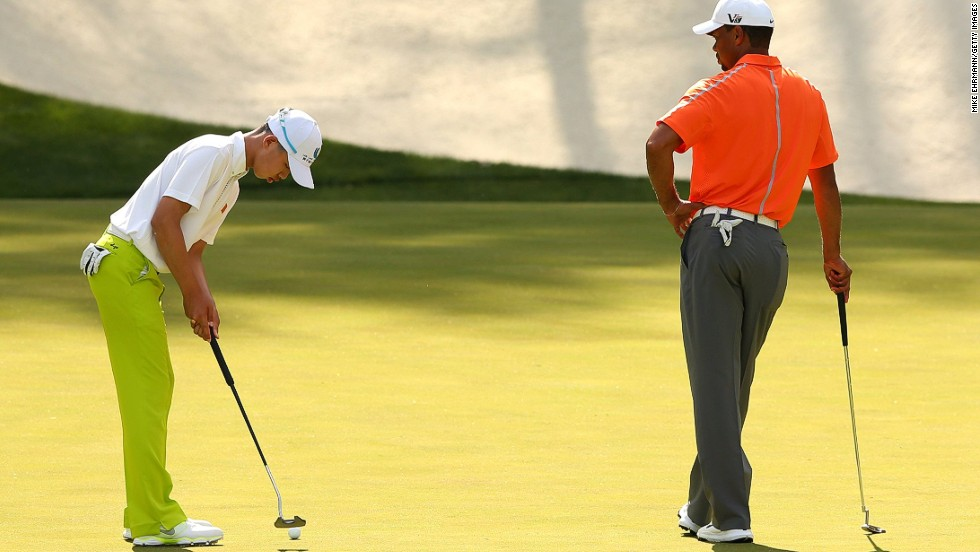 Guan enjoyed a practice round with his hero Tiger Woods, whose first Masters title came in 1997 -- the year before the Chinese teenager was born.