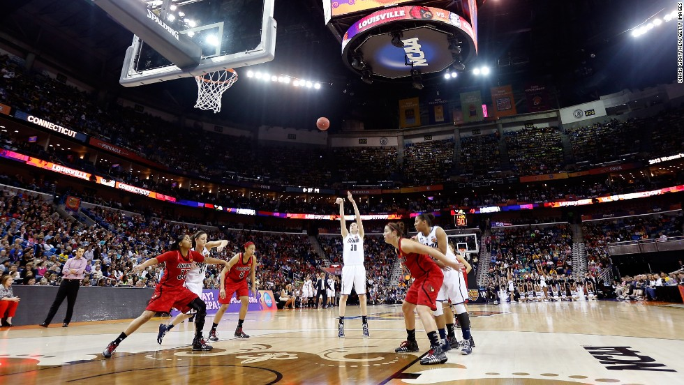 Breanna Stewart of UCONN shoots a free throw against Louisville on April 9.