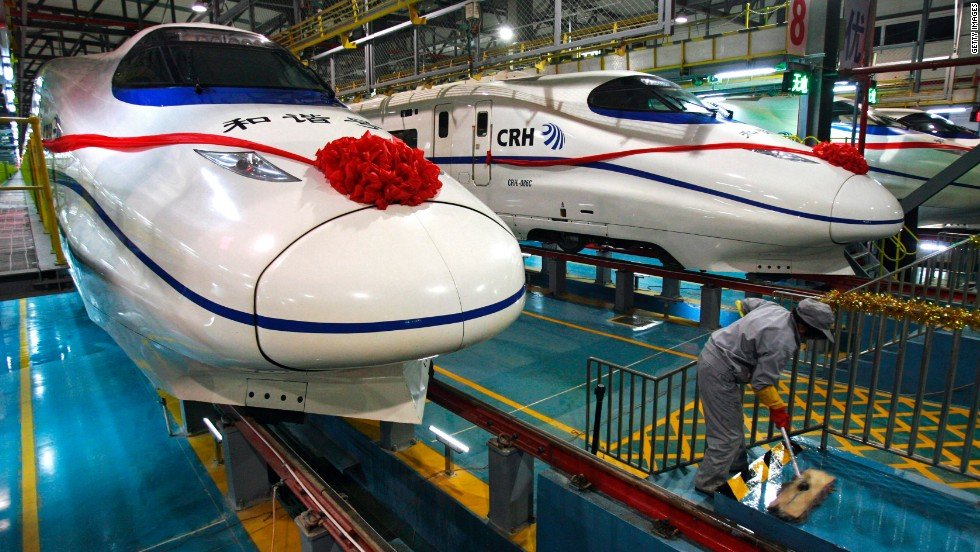 A worker preparing for the opening of the Wuhan Railway Station in 2009. High-speed rail service began in China in 2007 and now has the world's longest bullet train network, with routes nearing 10,000 kilometers in all.