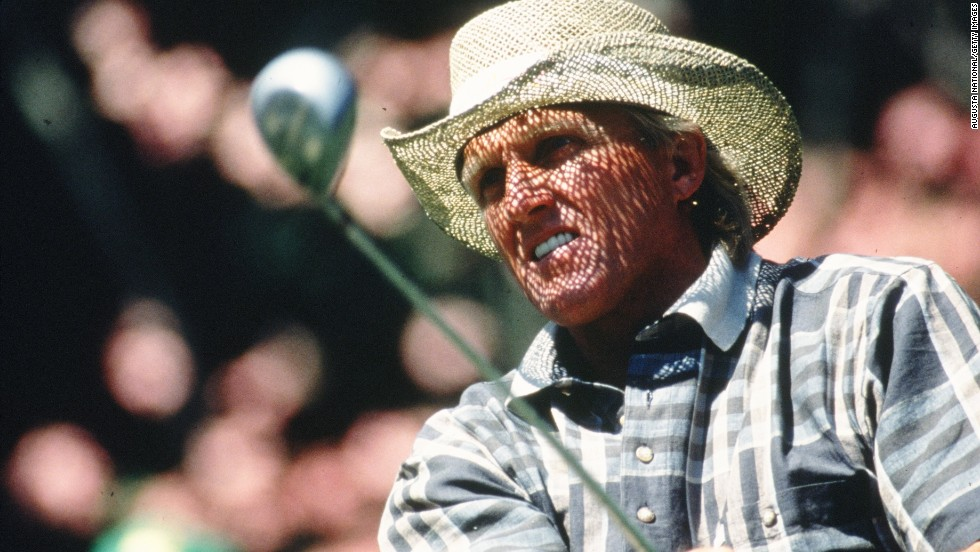 "Greg Norman's straw hat, seen here during the 1996 Masters, became part of his signature look. The Aussie earned his nickname ""The Shark"" because of his aggressive play and ""great white"" (read: blond) hair. Though he never won the Masters -- he came in second three times -- his clothing line, the Greg Norman Collection, is one of the leading golf-inspired sportswear lines. Its logo? A shark, of course."