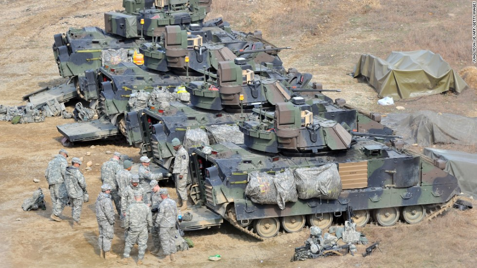 U.S. soldiers are at a military training field in Yeoncheon, South Korea, on April 9.