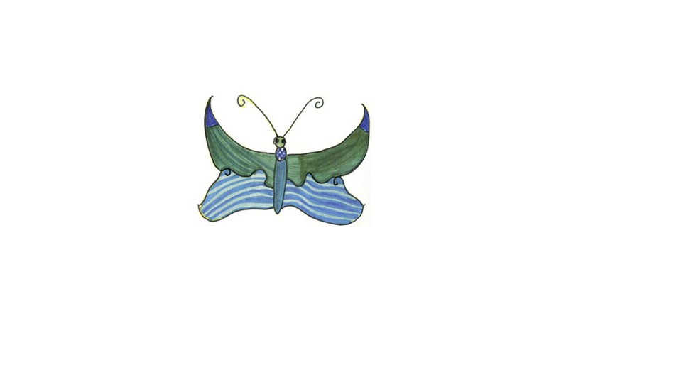 Christina drew this butterfly at school and it is now the symbol of her memorial foundation. She loved politics, and was shot to death when she went to see Rep. Gabby Giffords at a rally in Tucson, Arizona.