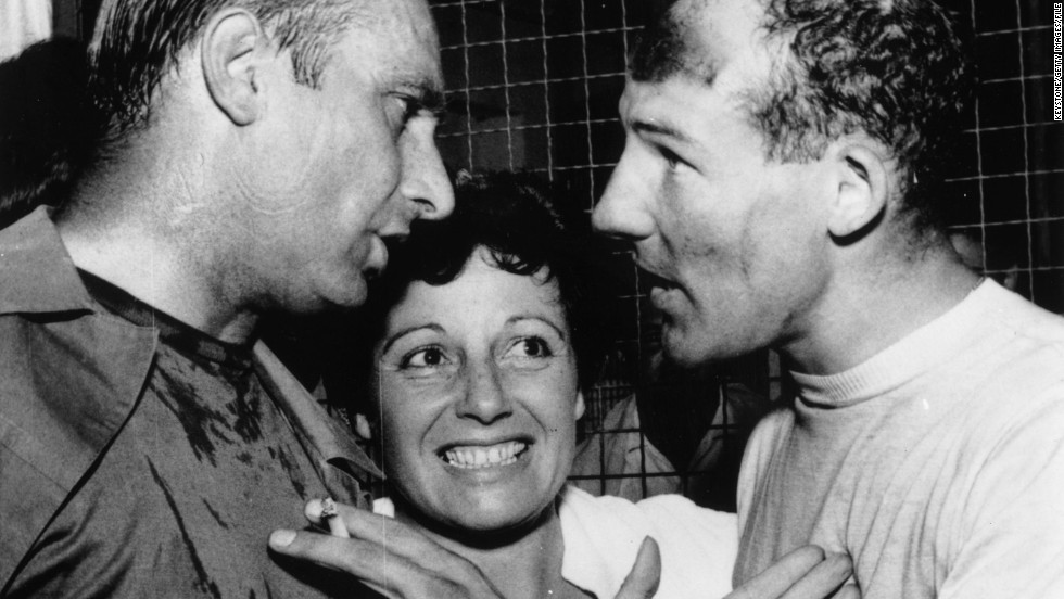 """""""El Maestro"""" Juan Manuel Fangio (left) and Stirling Moss engaged in discussion following the 1957 Italian grand Prix at Monza, which the Englishman won. The pair were teammates at Mercedes in 1955. """"The team has always been the most important thing,"""" says Moss. """"Once you're with a company you really have to do what they tell you to. It's a professional business with very big money, which it wasn't (when I drove). Drivers are being paid like film stars now."""""""