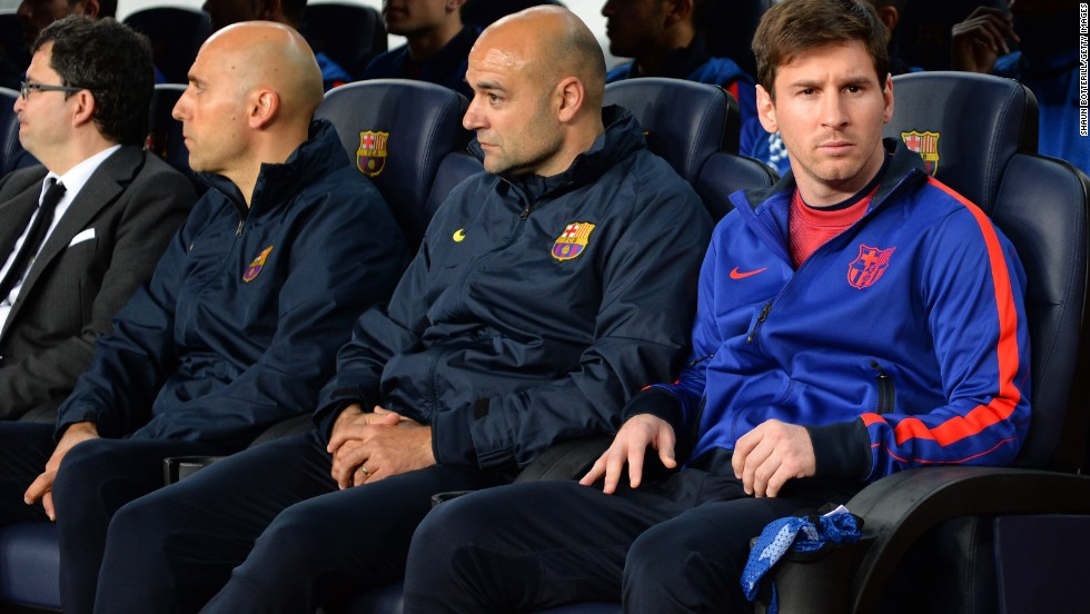 Lionel Messi started the evening on the bench after picking up a hamstring injury during last week's first leg in Paris. The four-time World Player of the Year missed the weekend's win over Mallorca and was deemed fit enough to be named as a substitute.