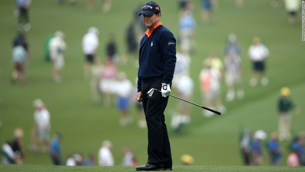 Tom Watson of the United States looks on from the first hole.