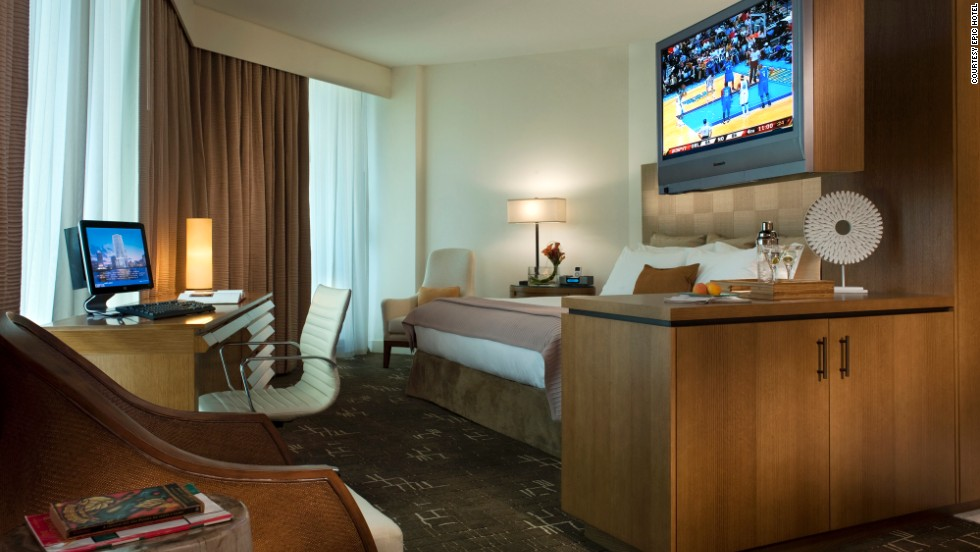 Every room at the Kimpton's EPIC Hotel has a desktop PC with high-speed Internet and connection to the printer in the lobby. In the Club Lounge, a touch-screen map akin to a ginormous smartphone lets you surf the 'Net, watch videos and scout local hotspots.
