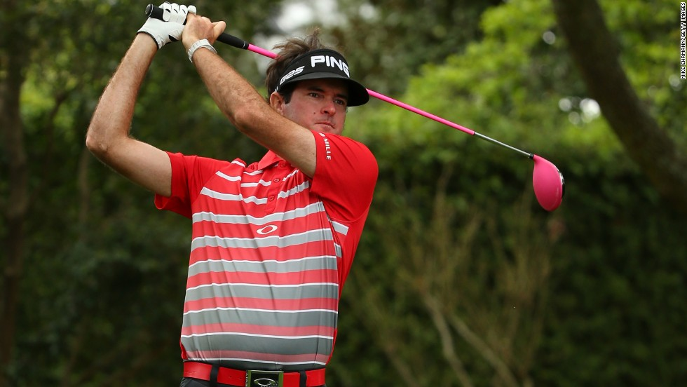 Bubba Watson tees off on the second hole.