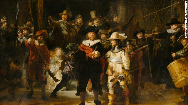 "Rembrandt van Rijn's ""The Night Watch"" (1642) from the Rijksmuseum, Amsterdam."