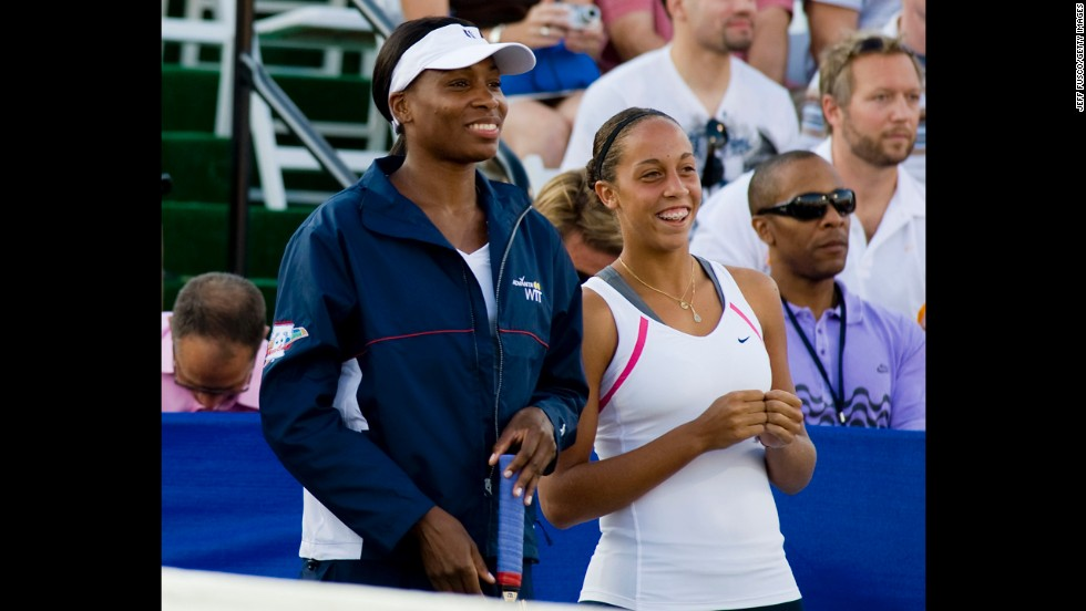Madison Keys, at right next to Venus Williams, became one of the youngest players to win a Women's Tennis Association tour match when she beat Serena Williams at age 14.
