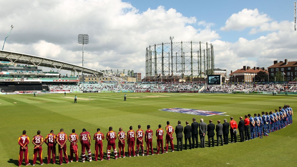 Here the England and West Indies cricket teams observe a minute's silence to mark the tragic death of Surrey's 23-year old player Tom Maynard. County cricket teams also refused to hold a minute's silence to mark Thatcher's death.