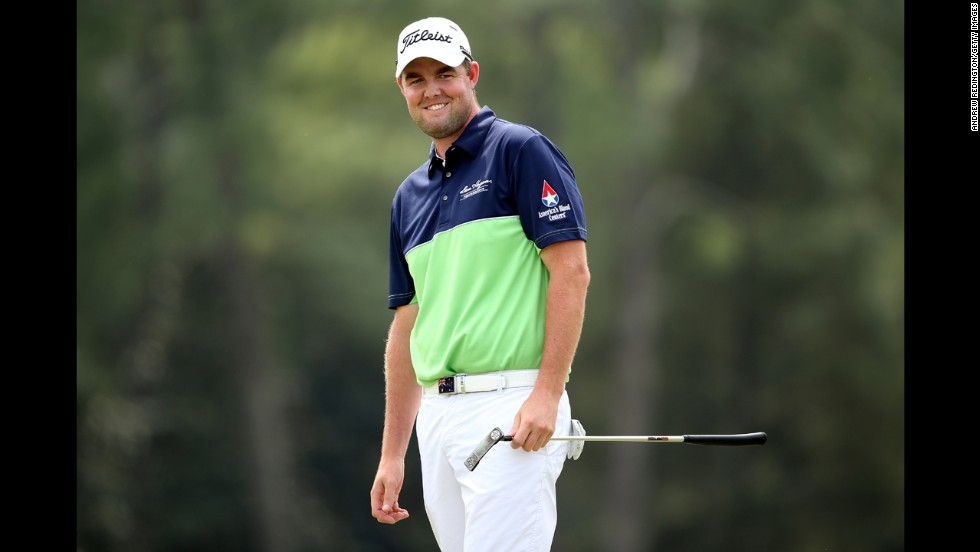 Marc Leishman of Australia smiles during the first round.