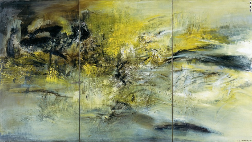 "Zao eventually committed himself fully to abstract painting, rarely using even figurative titles after 1959.  Instead, he titled his works with their date of completion, marking their entry into the world.  This is his 1966 triptych, entitled ""01.04.66."""