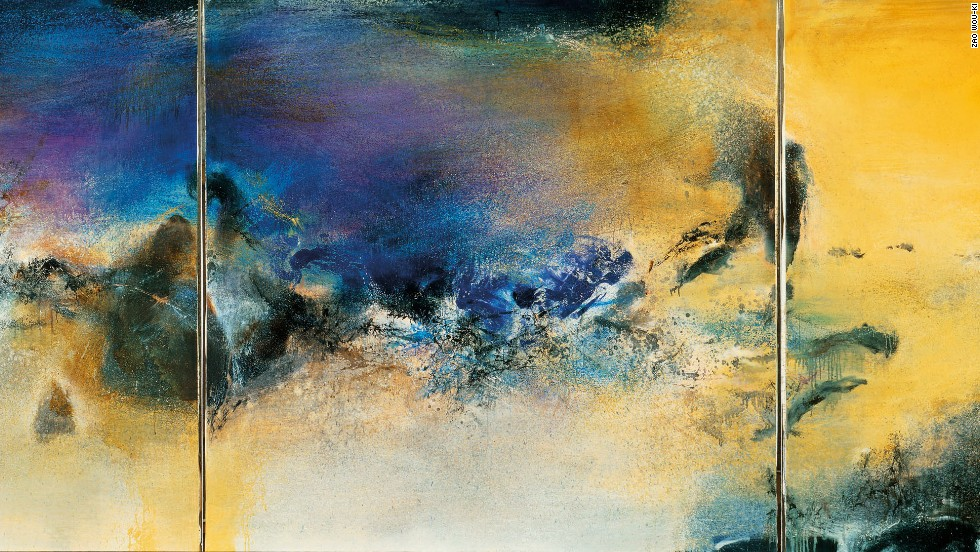 "Zao's paintings were known for their lyrical qualities: oscillating planes of color, light, and shade met, collided, and diverged, skidding across the surface of his works. Here is his 1982 triptych ""27.08.82,"" an oil on canvas."