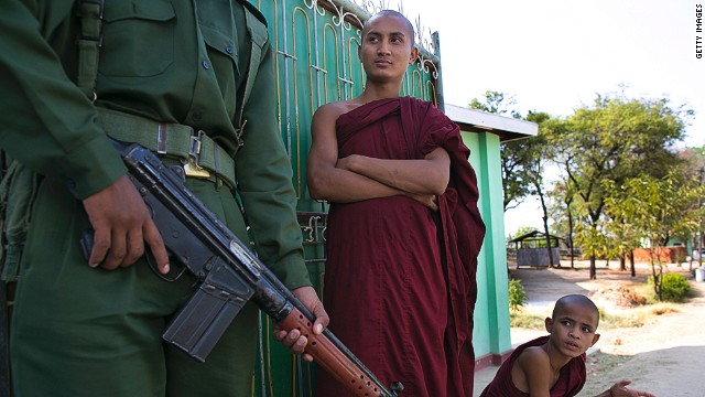 Buddhist monks in Meiktila, Myanmar, where violence between Muslims and Buddhists left 43 dead in March 2013.