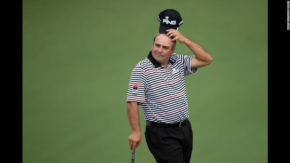 Argentina's Angel Cabrera appears disappointed after missing a putt on the second hole on April 12.