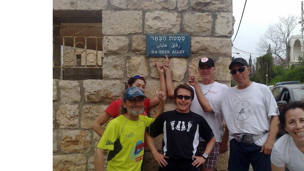 Holyland hashers Paul Rokach, Margaret Ben-Shoshan, Scott Horton, Kelvin Williams, Chaim Daon and Rachel Neiman pose on an aptly named street in Ein Karem, Israel.