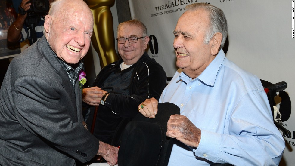 "Mickey Rooney, left, and Marvin Kaplan join Winters for a July 2012 screening of ""It's a Mad, Mad, Mad, Mad World"" in Beverly Hills, California. Winters stood out in Stanley Kramer's 1963 comedy all-star film as a truck driver who destroys a gas station.<br />"
