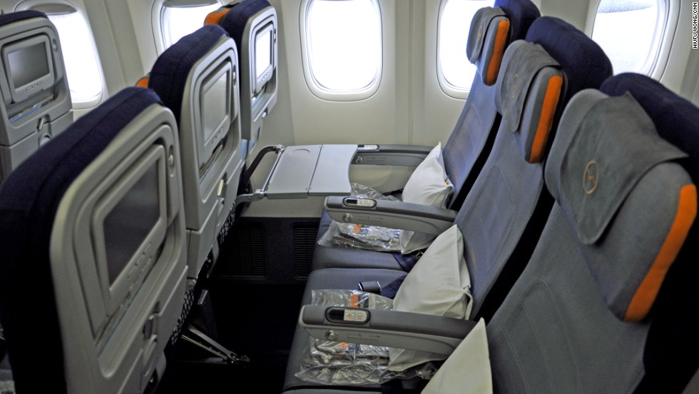 Economy-class seats are 52 centimeters wide and can be inclined 113 degrees. Lufthansa says it has added 5 to 7 centimeters more leg room than its 747-400. All seats on the plane are set up for inflight power and can handle iDevices. In economy, each has a 9-inch monitor with 50 video options.