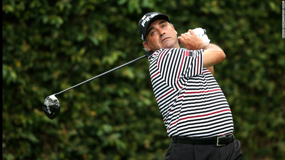 Angel Cabrera of Argentina hits a tee shot on the second hole during the second round.