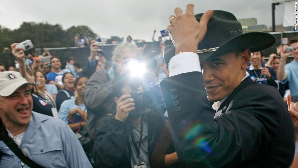 Apparently the rule is different during political campaigns. A supporter offered Obama this hat at a rally in Austin, Texas, in 2007.
