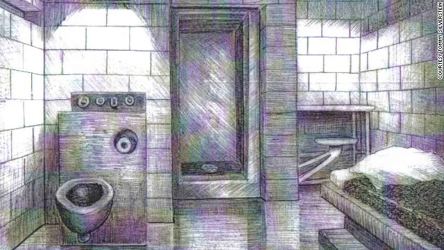 Tommy Silverstein drew this image of his solitary confinement cell in Colorado.