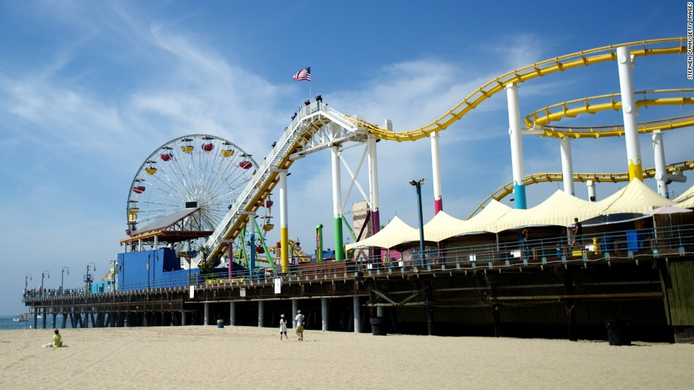 "The Santa Monica Pier was built in 1909 as part of a sewage disposal system. The amusement park portion of the pier was built in 1916, and the sewage was phased out in the 1920s. It's all <a href=""http://santamonicapier.org/visit/"" target=""_blank"">fun and food</a> today."