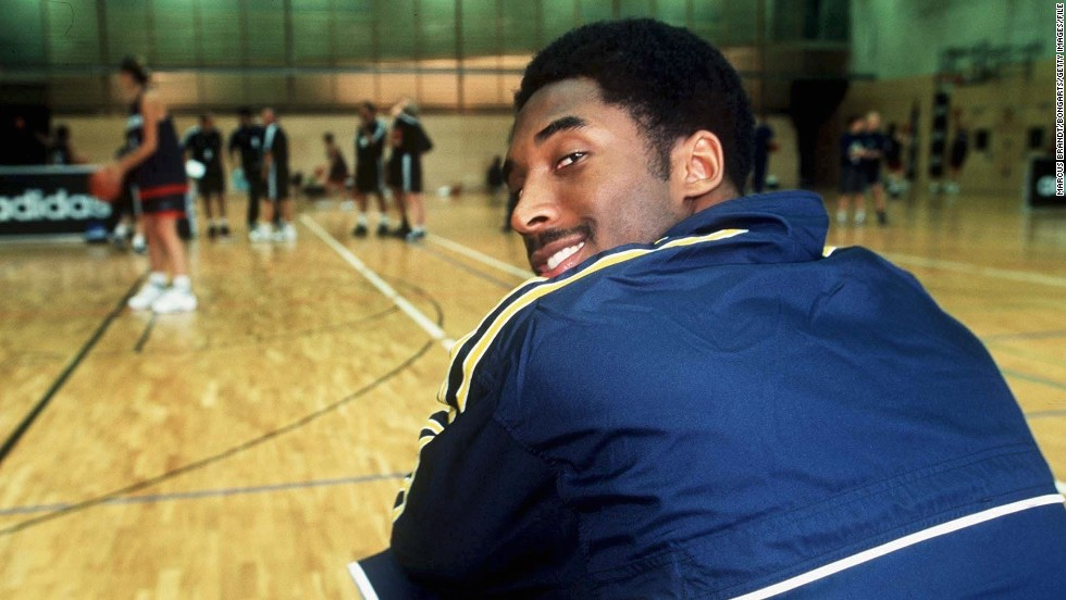Bryant sits on the sidelines during the Euro ABC camp in Berlin on July 7, 1999.