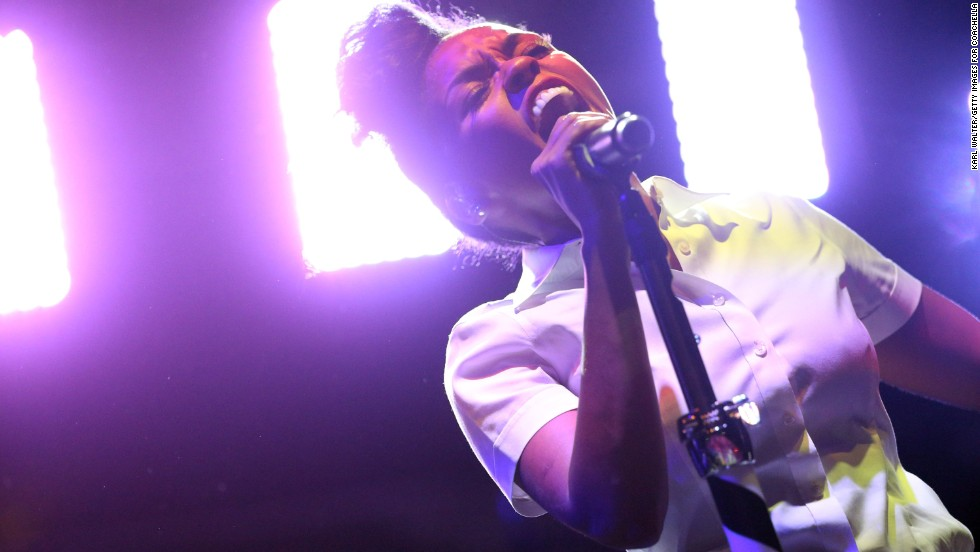 Janelle Monae performs onstage during Day Two of the festival on Saturday, April 13.