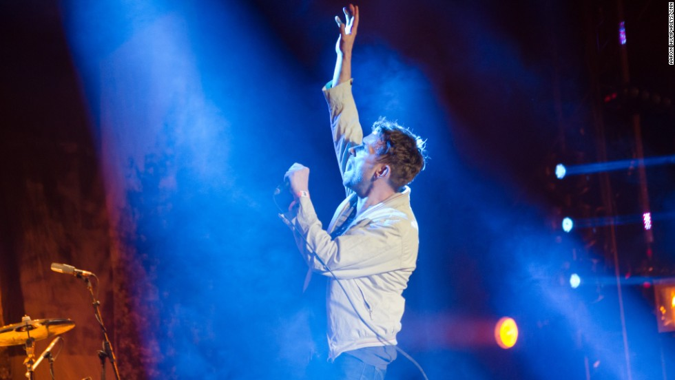 Damon Albarn of Blur performs on the main stage at Coachella on April 12.