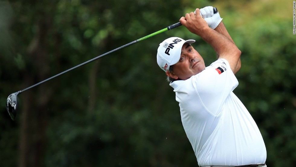 Angel Cabrera of Argentina tees off on the second hole.