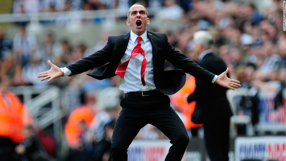 Sunderland manager Paolo Di Canio celebrates his side's first goal during the 3-0 victory at arch rival Newcastle. Sunderland had not won at St James' Park for 13 years but goals from Stephane Sessegnon, Adam Johnson and David Vaughan gave it all three points.
