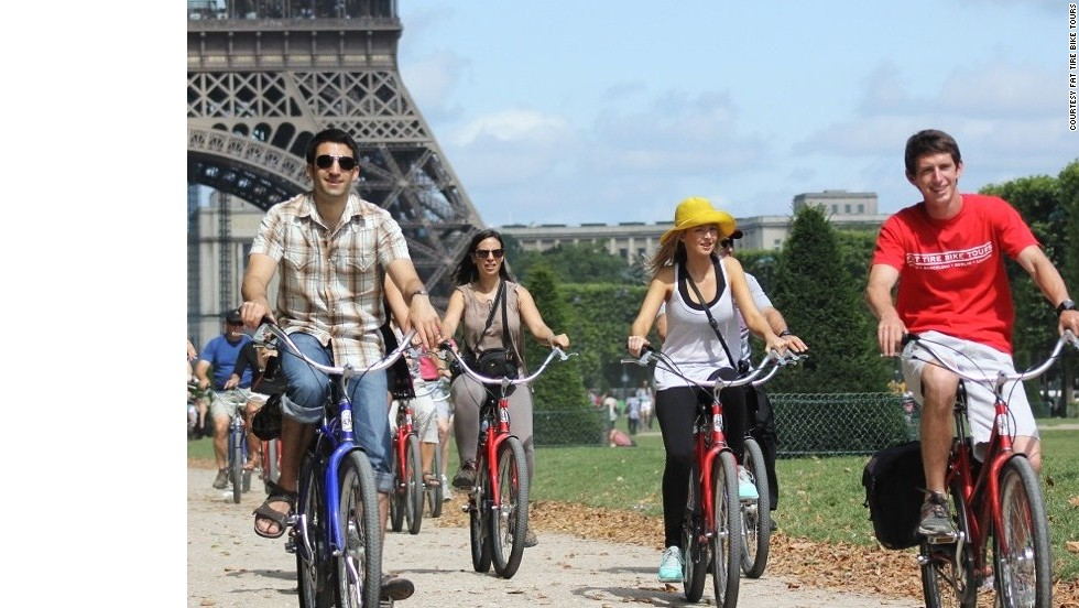 "<a href=""http://fattirebiketours.com/paris"" target=""_blank""><strong>Fat Tire Bike Tours, Paris, France.<strong></a></strong> </strong>Hop on a bike for a day or night ride through the ever-enchanting City of Light. Guided tours last from four to five hours with frequent stops for conversation and photo ops."