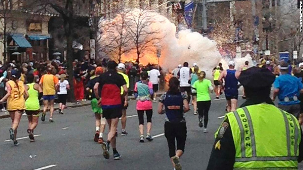 The explosions occurred around 2:45 p.m., about an hour after the first of the race's nearly 27,000 runners had crossed the finish line.