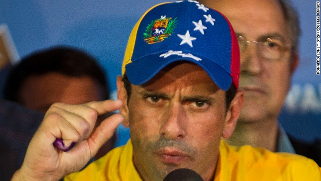 Venezuelan presidential candidate Henrique Capriles speaks during a press conference in Caracas on April 15, 2013.