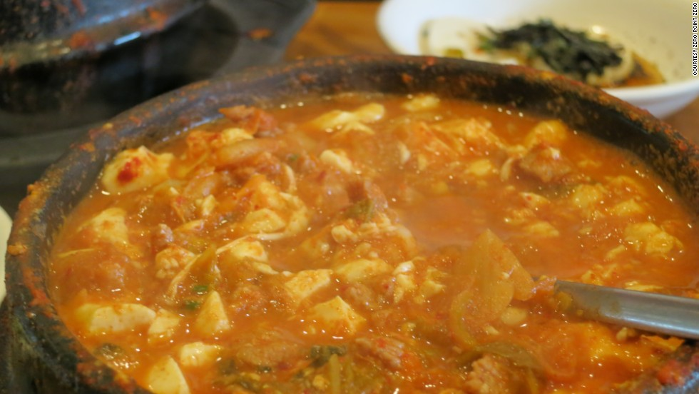 """A steaming hot bowl of tofu stew at Beverly Soon Tofu, another restaurant Anthony visits in """"Parts Unknown."""""""