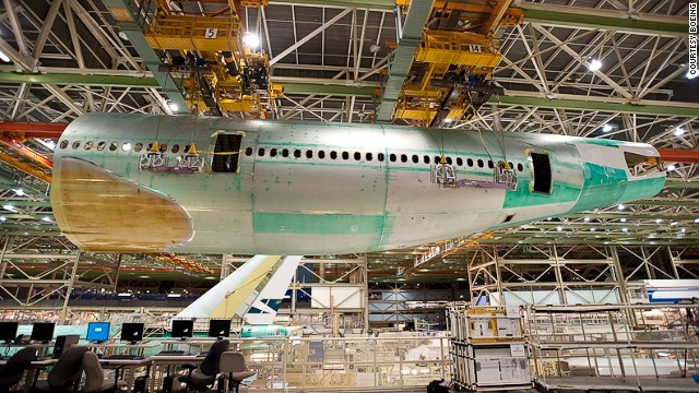 Boeing builds two 747-8s each month at the company's massive assembly facility outside Seattle.