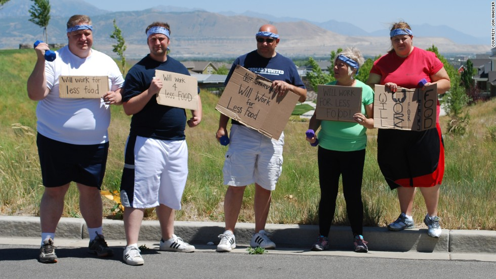 """In June 2012, the """"Will Work for Less Food"""" team weighed a collective 1,560 pounds. From left: Jon Whicker, Jordan Teuscher, Dan Teuscher, Becki Teuscher and Erin Teuscher."""