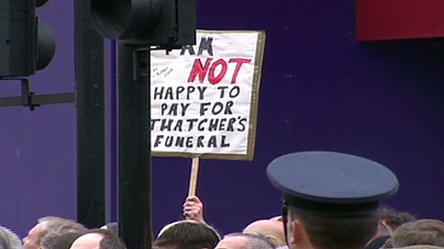Protesters 'disgusted' at Thatcher