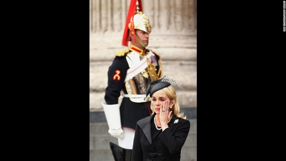 Sarah Thatcher, wife of Mark Thatcher, the late prime minister's son, leaves St Paul's Cathedral.