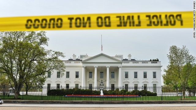 """Police cordon off the area in front of the White House in Washington, DC, on April 17, 2013 following attacks at the Boston marathon. US President Barack Obama condemned the April 15th attack at the marathon finish line as """"an act of terror."""" He will attend a special service for the victims in Boston on April 18. US investigators zeroed in Wednesday on the suspected pressure cooker bombs that exploded at the Boston marathon, killing three people and injuring more than 180, as they hunted for perpetrators.    AFP PHOTO/Jewel Samad        (Photo credit should read JEWEL SAMAD/AFP/Getty Images)"""