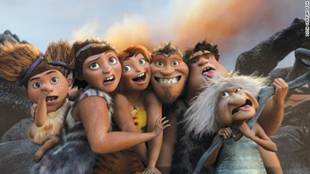 """The Croods"" features the voice talent of Emma Stone, Ryan Reynolds, Nicolas Cage, and Catherine Keener."
