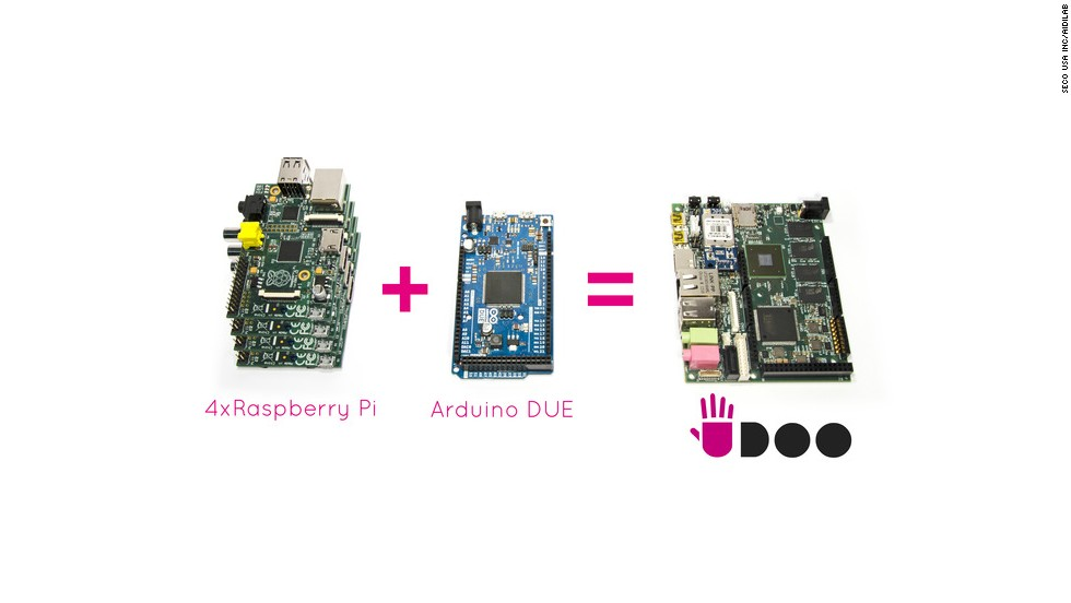 "The UDOO (pronounced ""you do"") brings together the power of four Raspberry Pi's and the popular micro-controller Arduino to create a highly customizable PC for just $100."