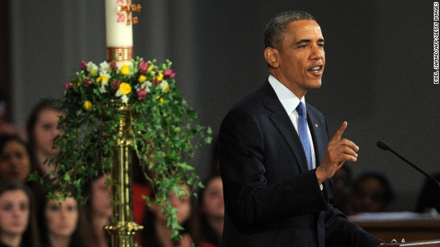 US President Barack Obama speaks during the 'Healing Our City: An Interfaith Service' dedicated to those who were gravely wounded or killed in the Boston Marathon bombing, at the Cathedral of the Holy Cross in Boston, Massachusetts, on April 18, 2013.