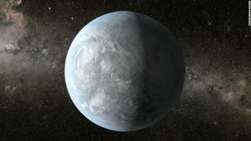 This illustration depicts Kepler-62e, a planet in the habitable zone of a star smaller and cooler than the sun. It is about 1,200 light-years from Earth in the constellation Lyra.