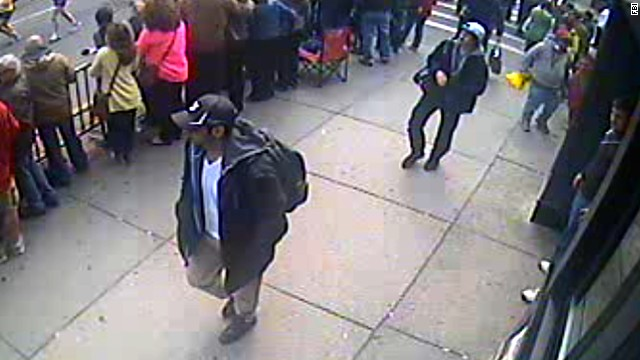 The FBI on Thursday, April 18, released photos and video of two men it called suspects in the deadly bombings at the Boston Marathon and pleaded for public help in identifying them. The two men were photographed walking together near the finish line of the marathon before the explosions that killed three people and wounded about 180.