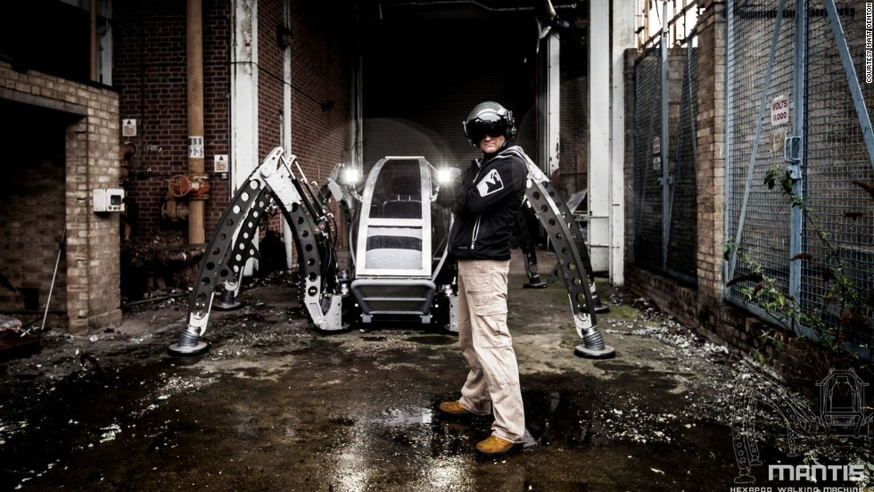 """Chief designer Matt Denton first had the idea to create the Mantis walking robot back in 2007. """"My fascination with walking machines started at a young age watching sci-fi films such as 'The Empire Strikes Back,'"""" Denton says."""