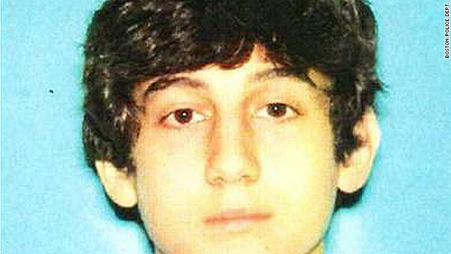One Boston Marathon bombing suspect is identified as  19- year-old Dzhokhar Tsarnaev of Cambridge, Massachusetts. the latest photograph of the suspect was released by the Boston Police Department on Friday, April 19, 2013.